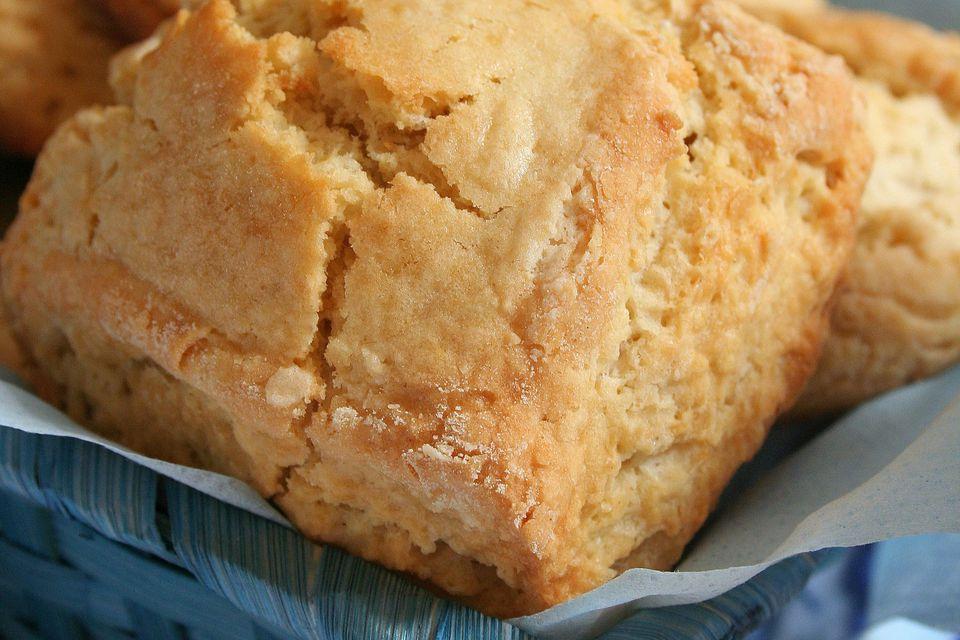 A close-up of cream scones