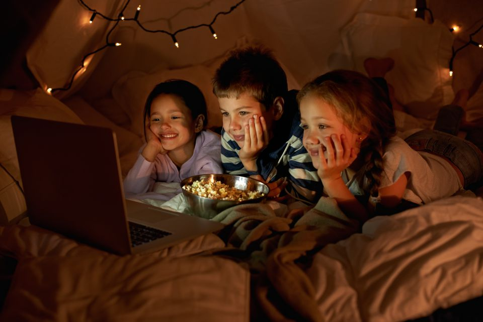 Movie time in the blanket fort