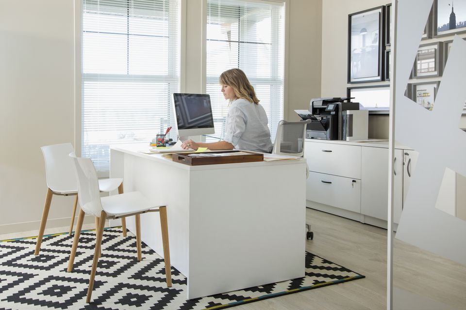 woman working at computer in home office - Working In Home Office