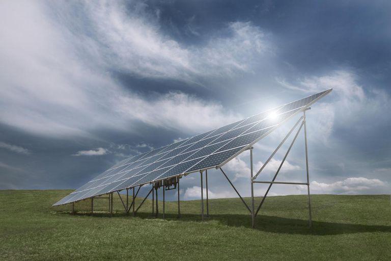 Solar Panel with sun flare