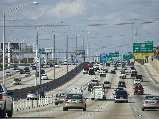 Traffic in Miami, Florida
