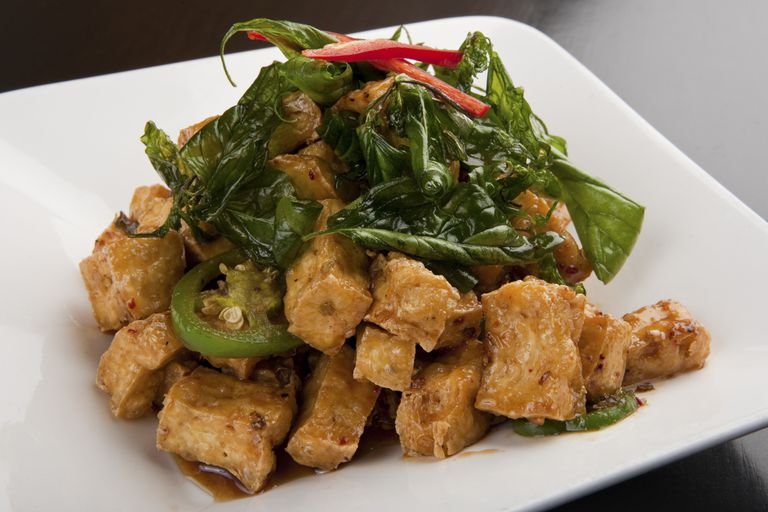 Fried Tofu with Greens