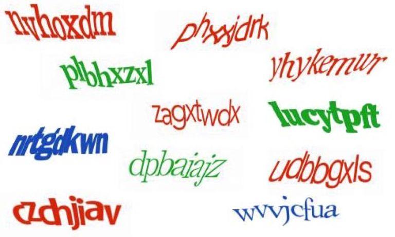 Ejemplos de textos usados en CAPTCHA
