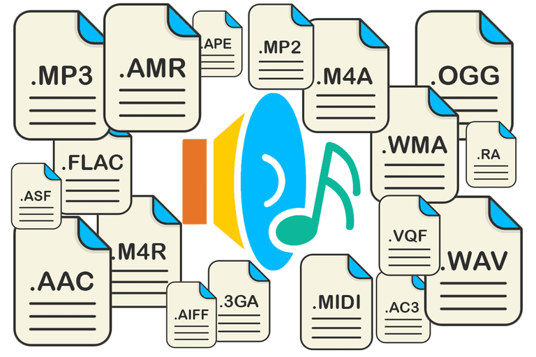 Illustration of several audio files
