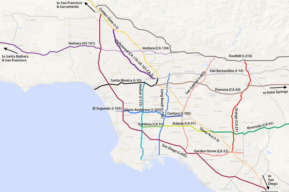 LA Driving Freeway Names And Traffic Lingo Made Easy - Los angeles freeway system map