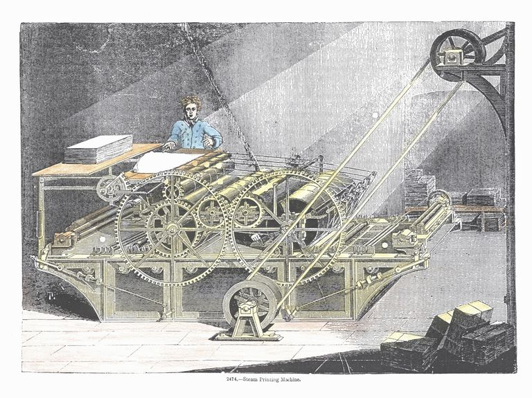 Steam printing machine invented during industrial revolution, 19th century, England