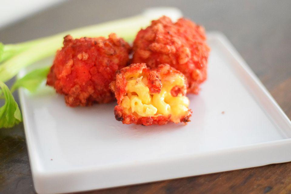 flaming hot cheetos mac and cheese balls