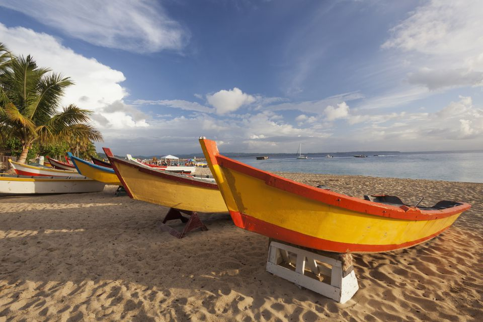 fishing boats on the beach in Puerto Rico