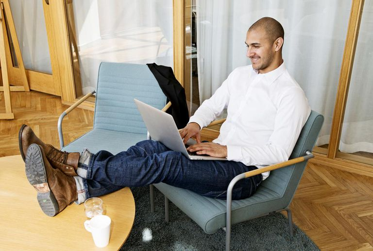 Picture of a businessman working on laptop