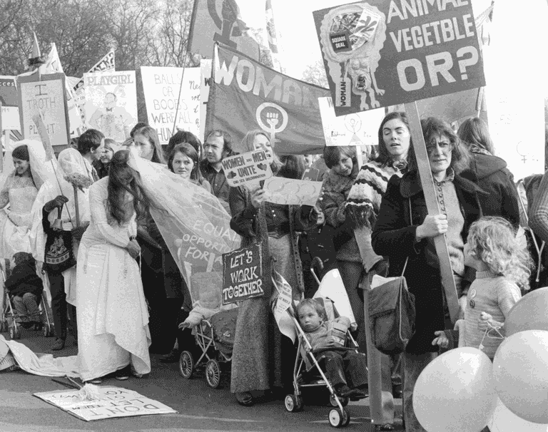Marchers in London celebrate International Women's Day, 1973