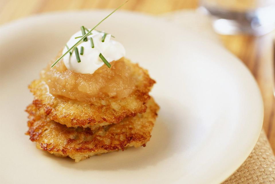 Crispy scallion potato pancakes with maple pear applesauce on top