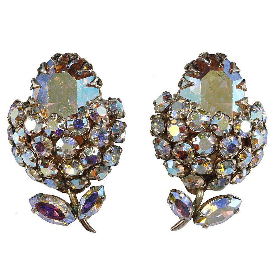 Sherman Aurora Borealis Iridescent Rhinestone Earrings