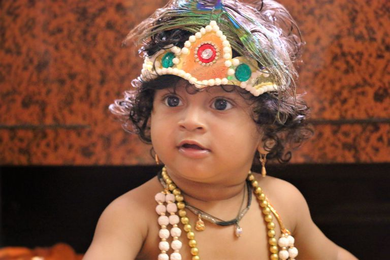Close-Up Of Baby Boy Dressed As Krishna