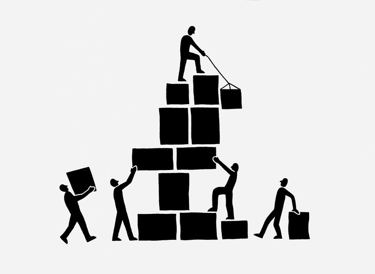 Black and white illustration of people stacking boxes or building blocks and trying to balance them