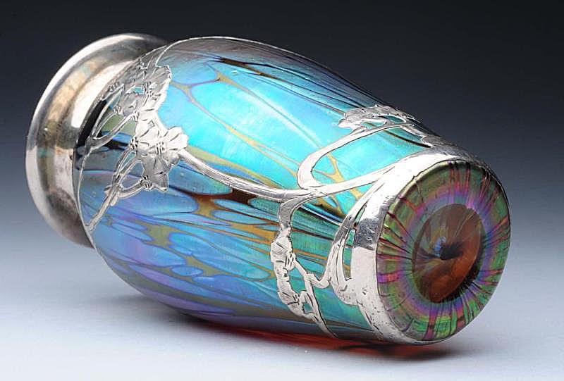 Tiffany Silver Overlay Vase with Polished Pontil