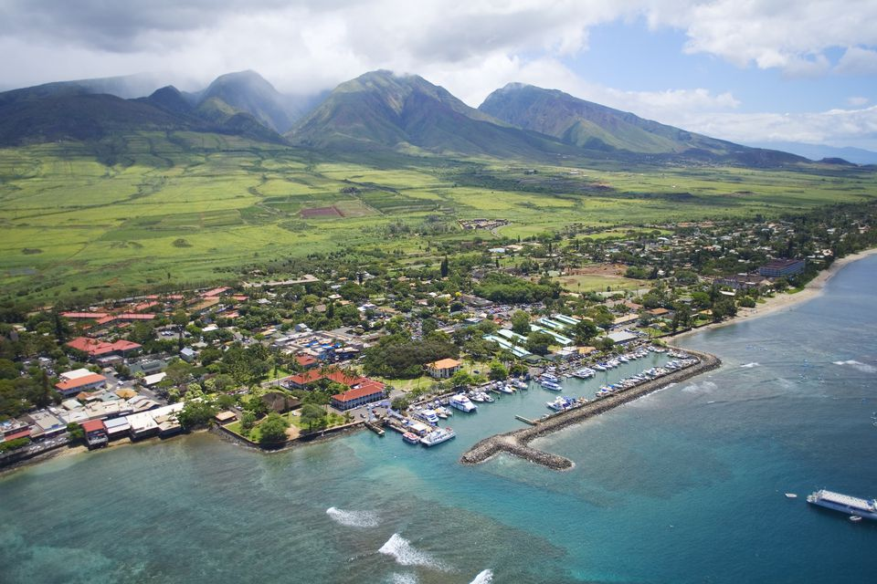 Hawaii, Maui, Aerial of Lahaina, West Maui Mountains in background.