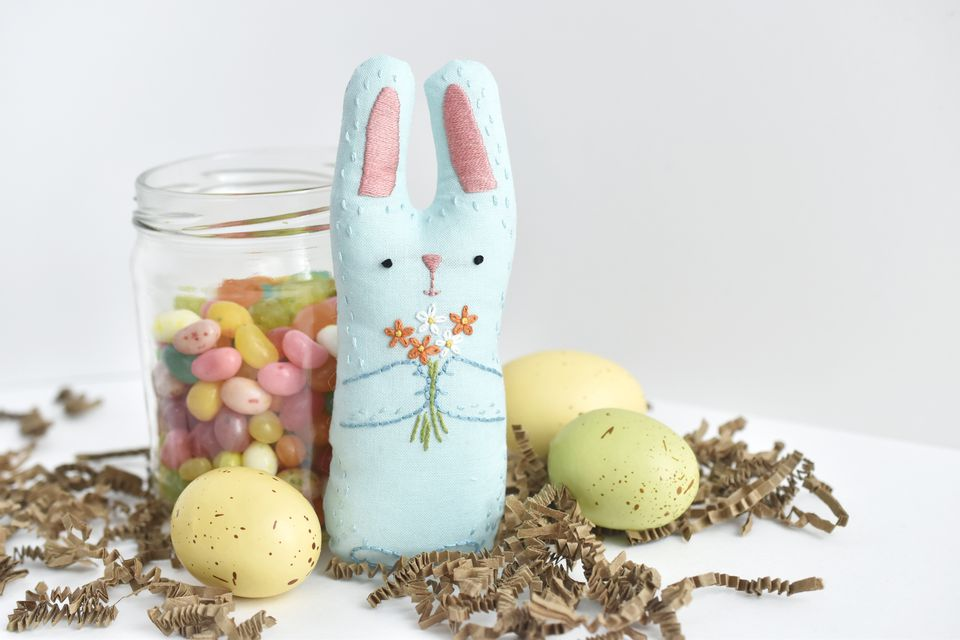 DIY Embroidered Stuffed Bunny Toy