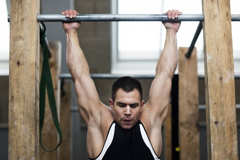 The starting position for a pull up.