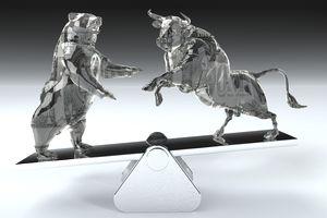 Bull and bear balancing on seesaw