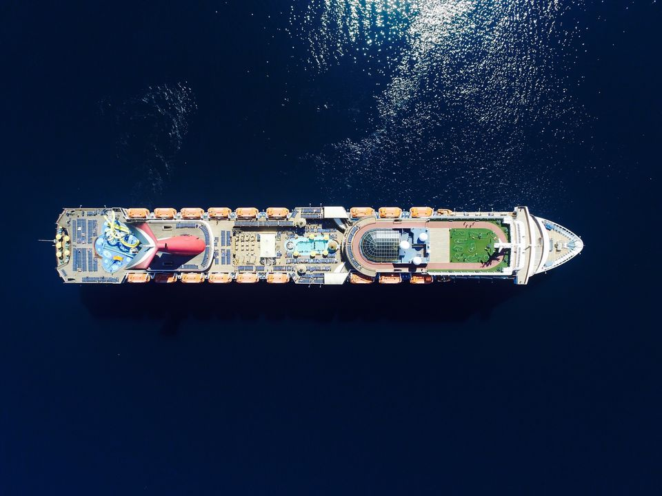 Aerial View Of Cruise Ship On Sea
