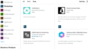 Screenshot of Adobe's free add-ons