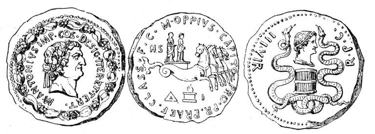 Cleopatra and Mark Antony on Coins