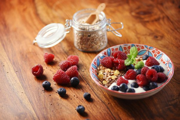 flax seed and berries, nuts, pudding