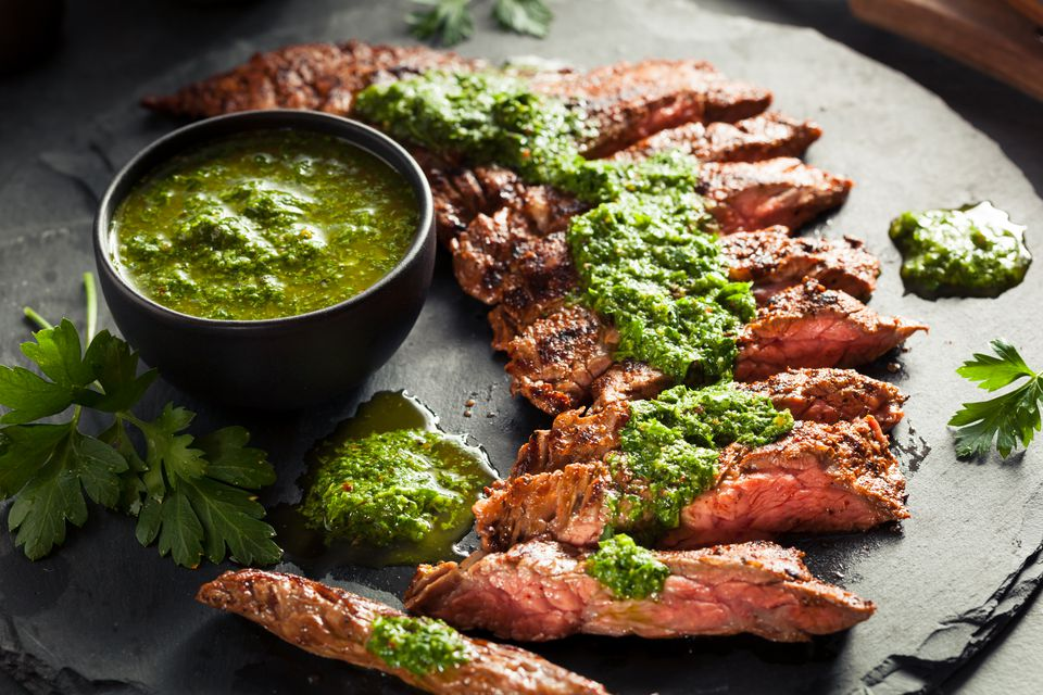 Homemade Cooked Steak with Chimichurri