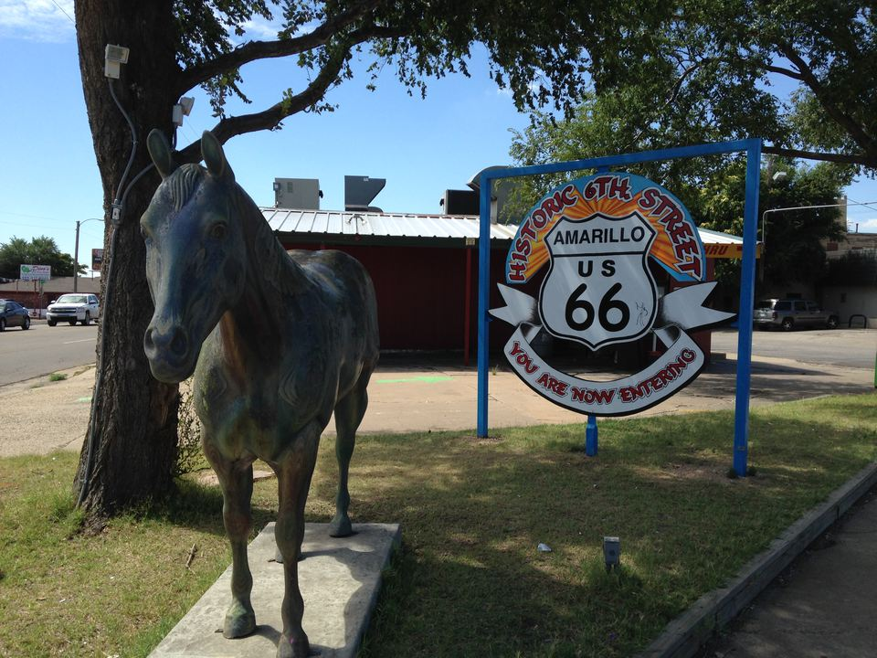 Historic 6th Street and Route 66 Sign, Amarillo, Texas