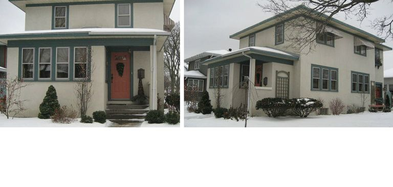 Square Stucco House, front and side views
