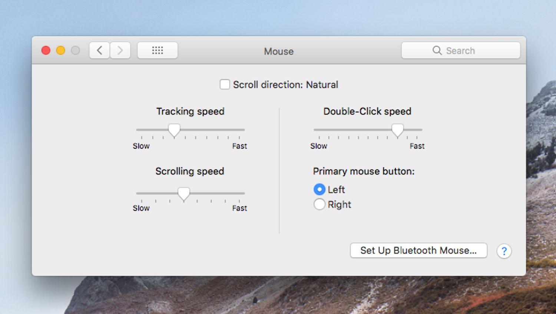 Basic mouse preferences