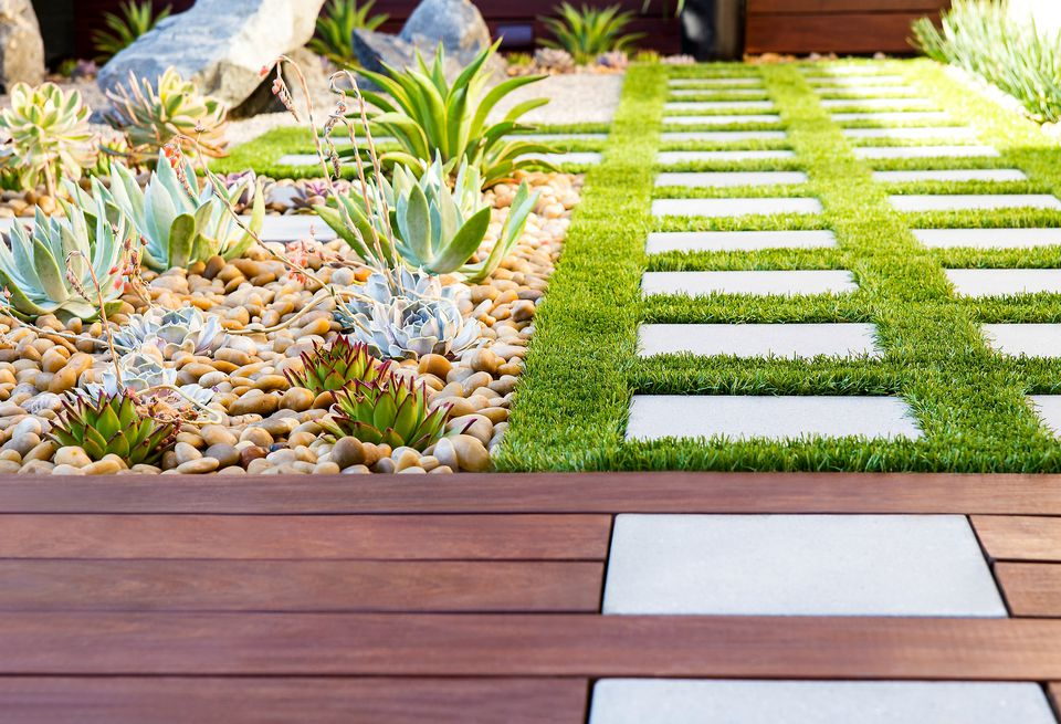 patio pavers with grass