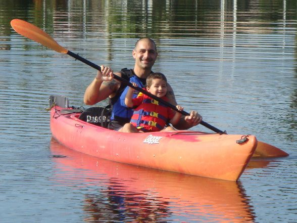 A Father and Son Kayaking