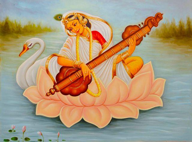 A Painting Depicting Goddess Saraswati