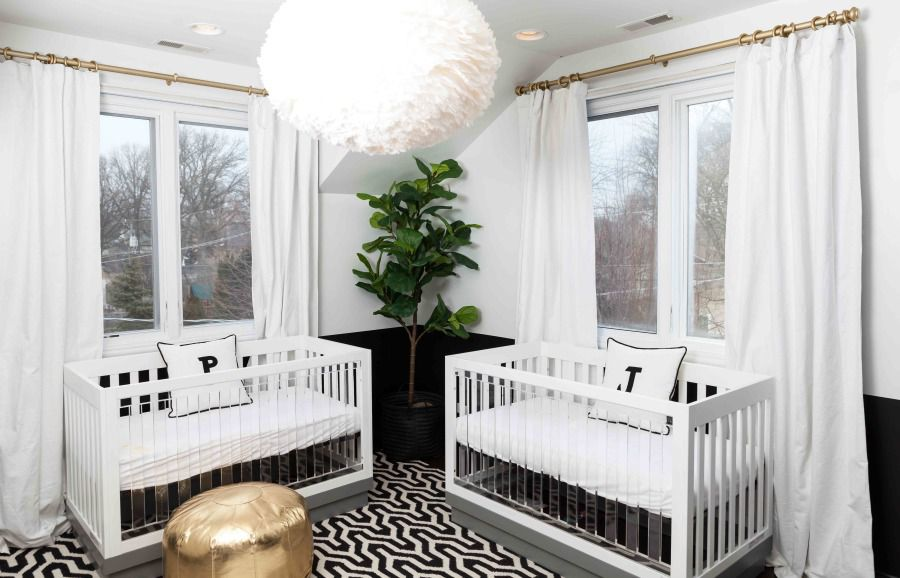 Modern, black and white twin room