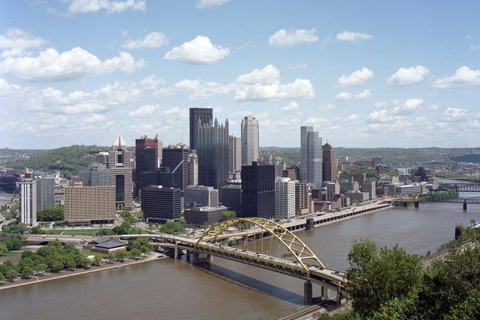 Elevated view of downtown Pittsburgh and river - photo by Andrew Collins