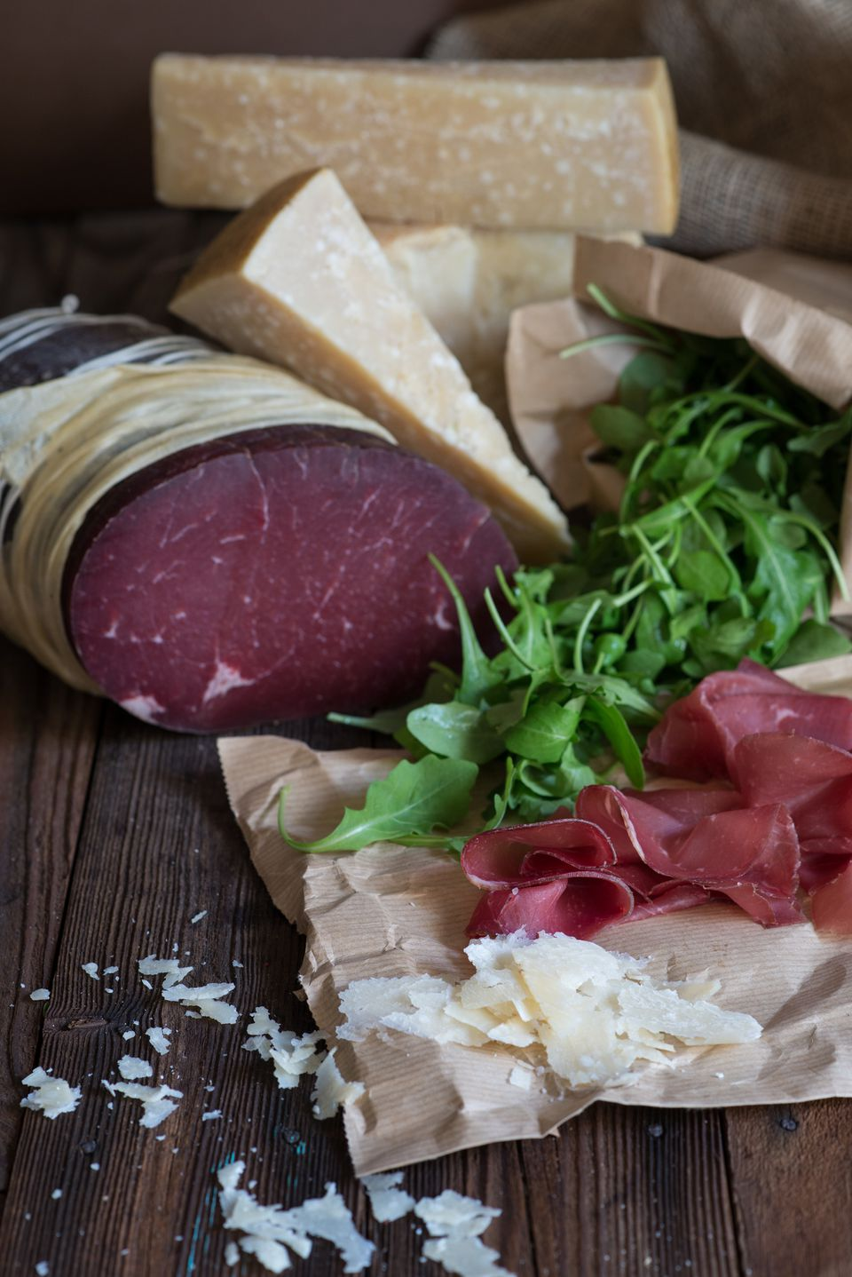 Bresaola with arugula and Parmigiano-Reggiano cheese