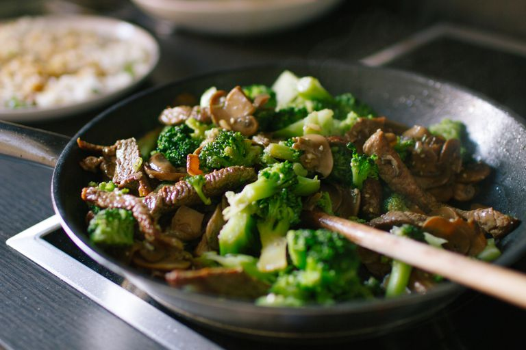 Cooked broccoli and beef