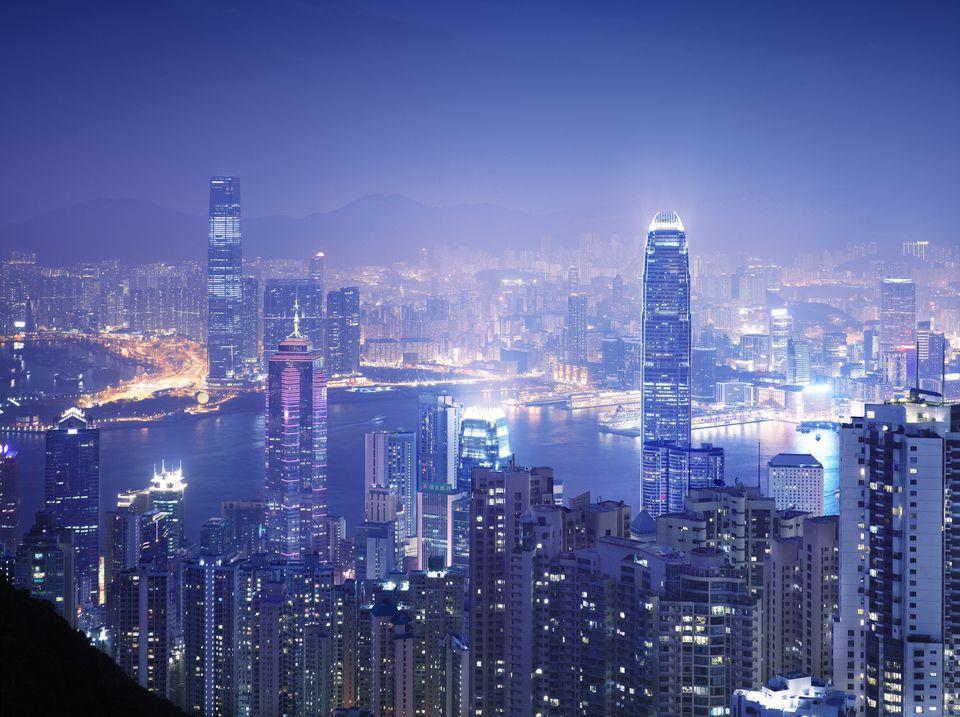 The Hong Kong skyline at night.