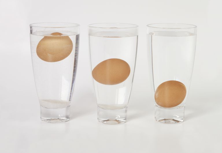 Rotten eggs float in a glass of water while fresh eggs sink. The gases produced by decomposition escape through the shell of a bad egg, making it lighter.