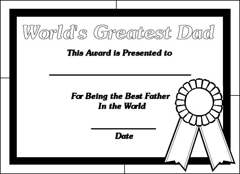 Printable Certificates for Dads