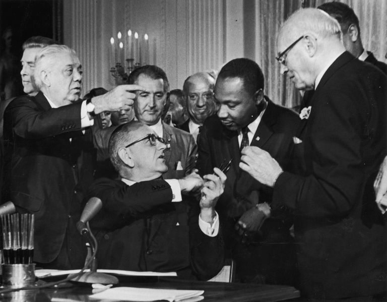 Signing the Civil Rights Act of 1964