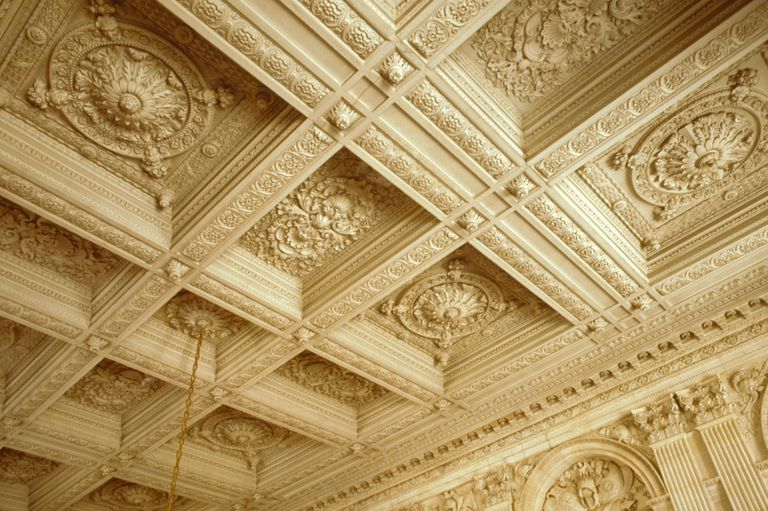light-colored ornate ceiling, one color, deep indentations, designs within the indentations
