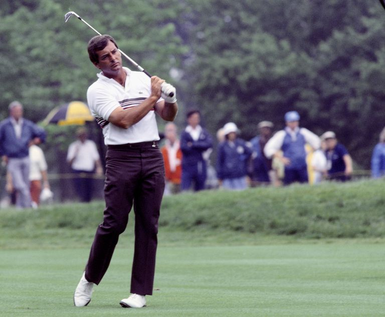 Fuzzy Zoeller of the USA plays a shot during the U.S Open 1984 held in June 1984 at Winged Foot, in New York, USA