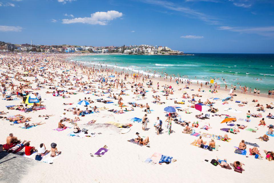 Crowded Bondi beach, Sydney, Australia