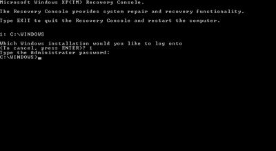 A screenshot of the Windows XP Recovery Console