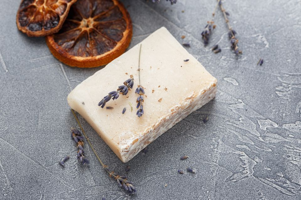 Two pieces of handmade soap