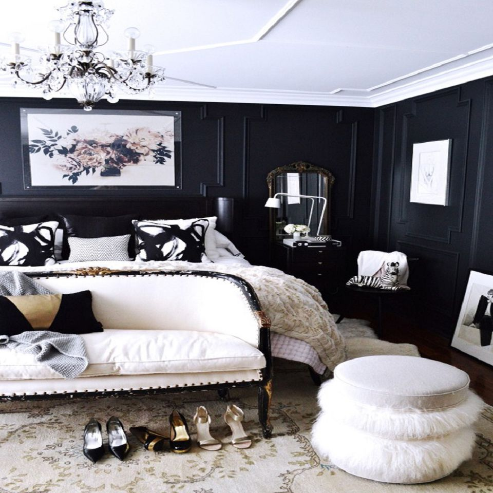 Decorating With Black White: Decorating Ideas For Dark Colored Bedroom Walls