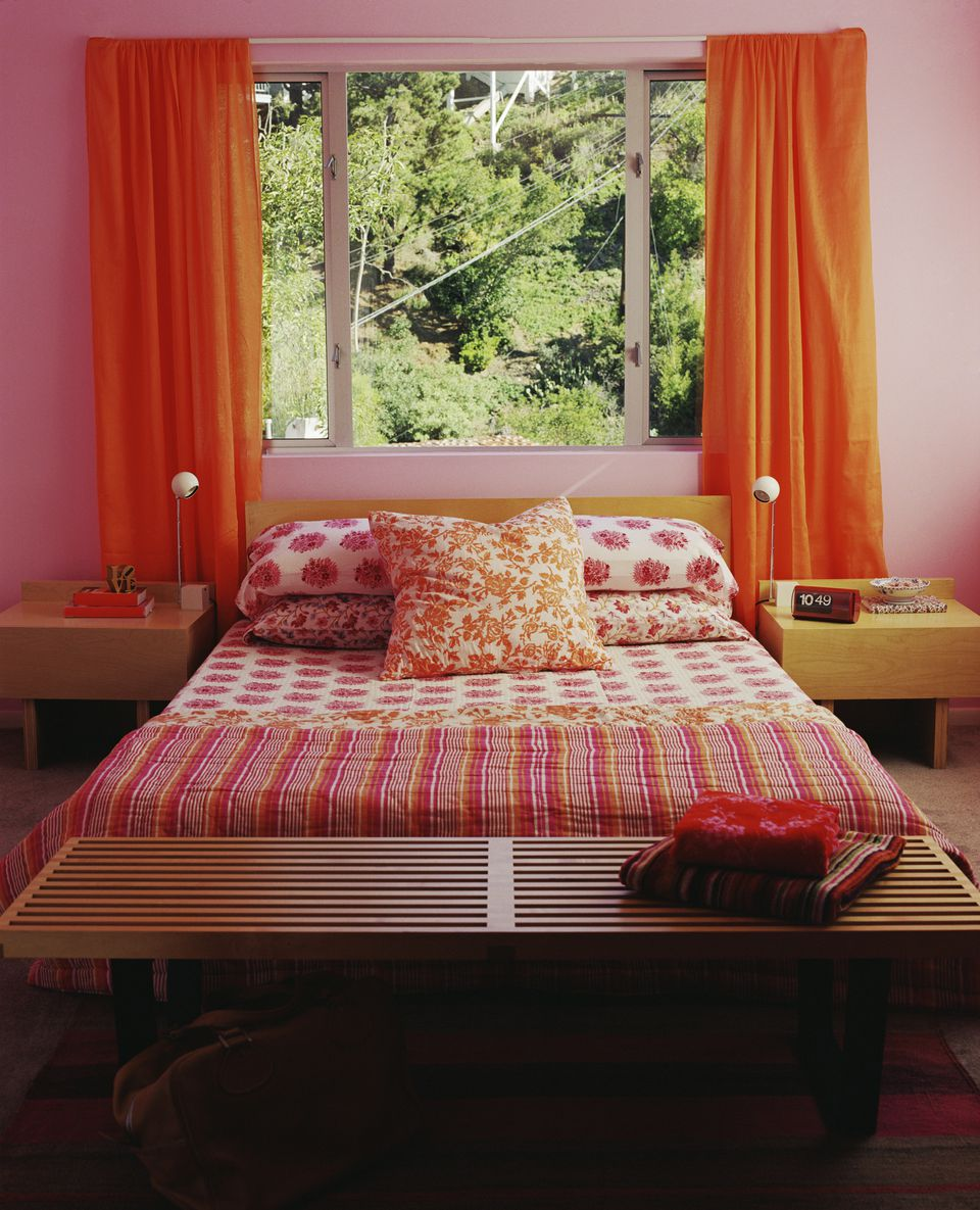 bold bedroom colors. Pink and orange bedroom  Bold Color Schemes for Bedrooms