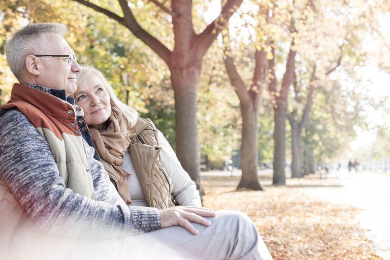 Senior couple relaxing in autumn park